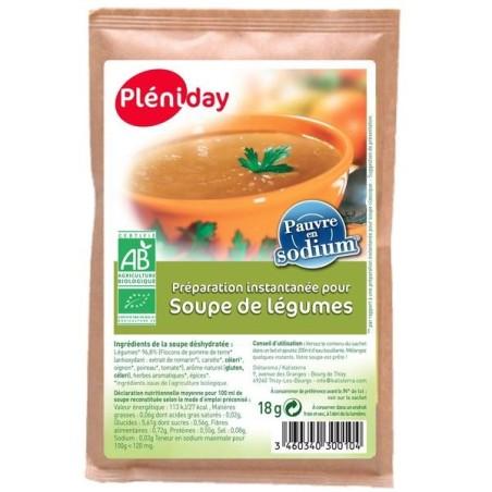 Soupe instantannée légumes bio pauvre en sodium - Pléniday